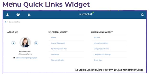 Sumtotal Quick Link Widget